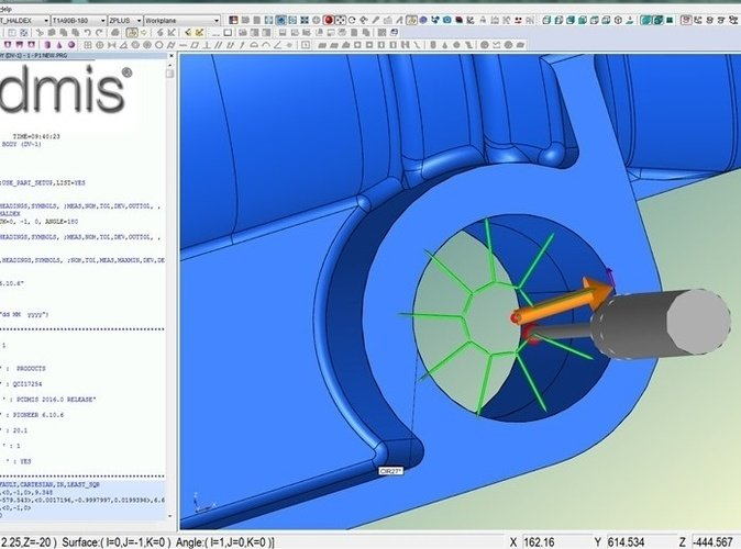 Screen shot of the CMM inspection software and CAD model